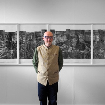 "Arnold with ""100 Etchings – 35 Years in Tasmania"""